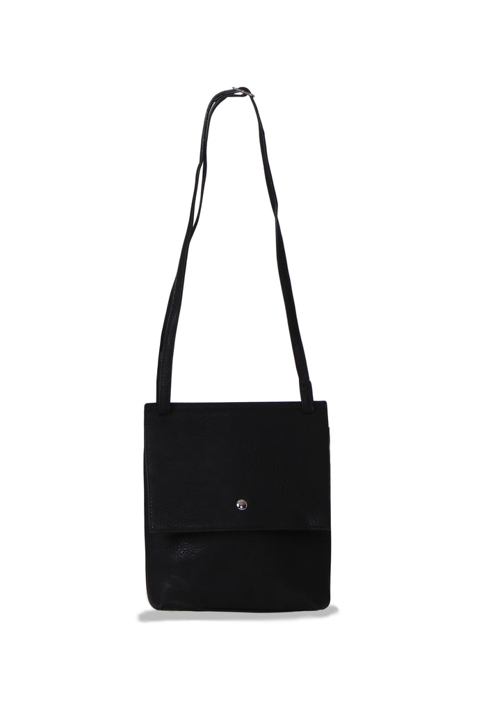 SMB0469-BLACK SOFT FAUX LEATHER CROSSBODY BAG