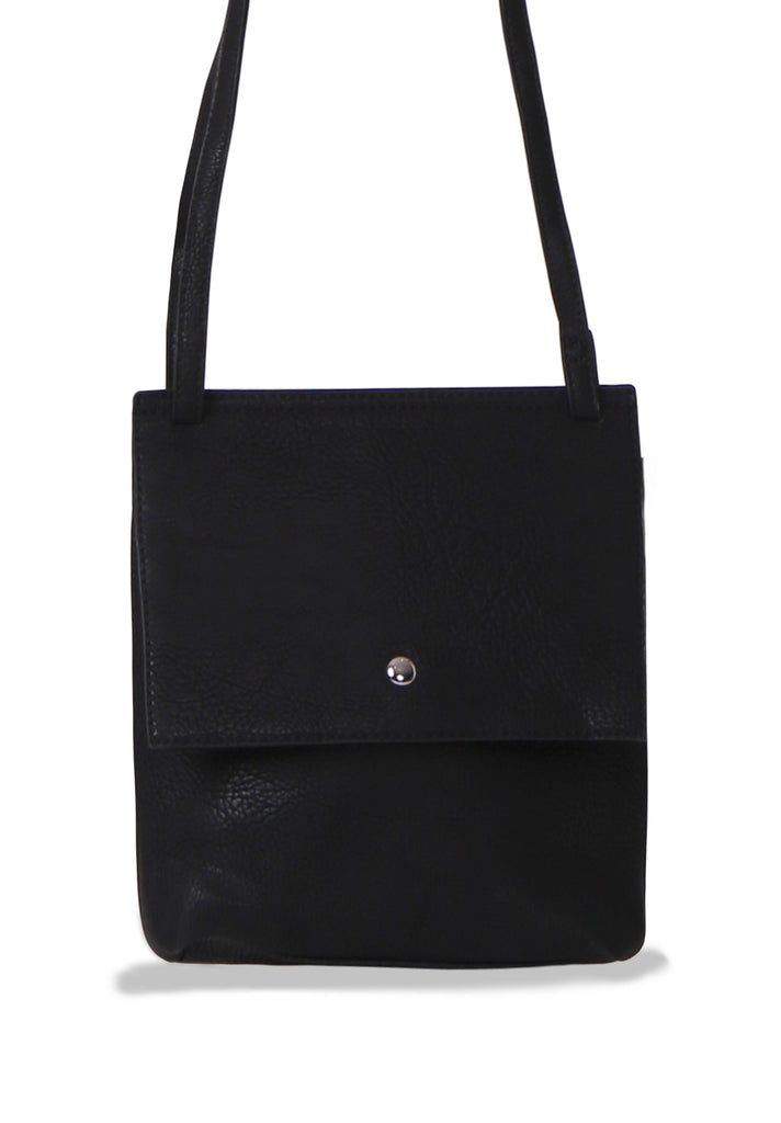 SMB0469-BLACK SOFT FAUX LEATHER CROSSBODY BAG view 2