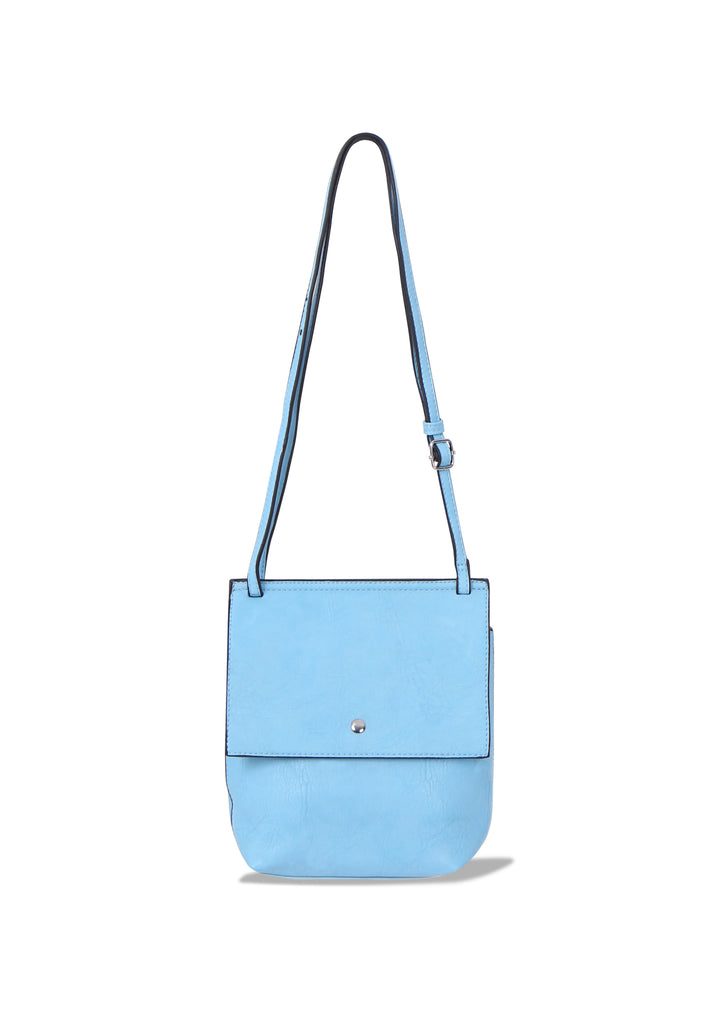 SMB0469-BLUE SOFT FAUX LEATHER CROSSBODY BAG