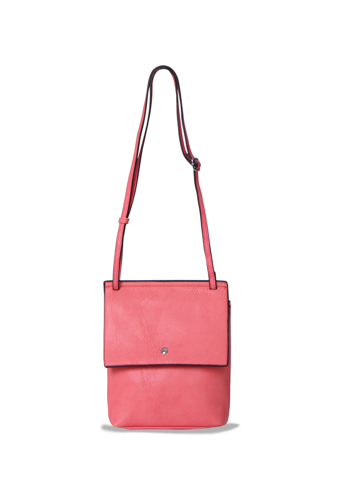 SMB0469-PINK SOFT FAUX LEATHER CROSSBODY BAG