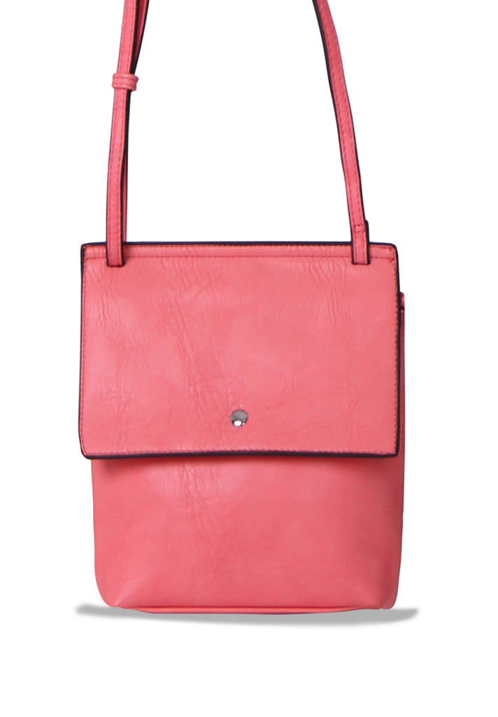 SMB0469-PINK SOFT FAUX LEATHER CROSSBODY BAG view 2