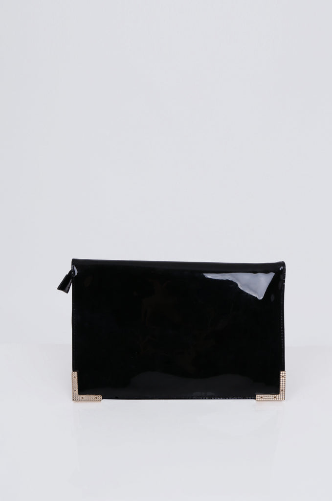 SMB1968-BLACK PATENT SQUARE ENVELOPE CLUTCH BAG view 4