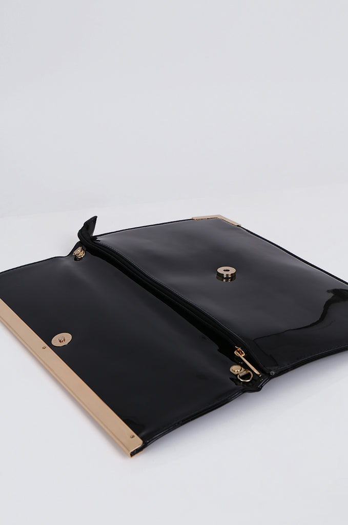 SMB1968-BLACK PATENT SQUARE ENVELOPE CLUTCH BAG view 3