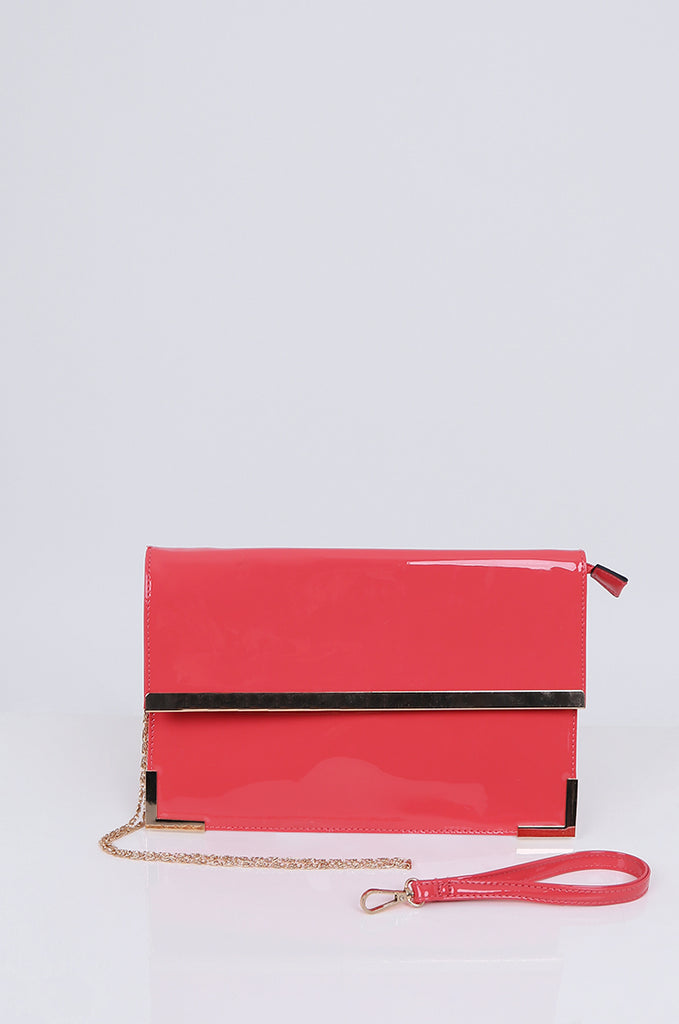 SMB1968-CORAL PATENT SQUARE ENVELOPE CLUTCH BAG view main view