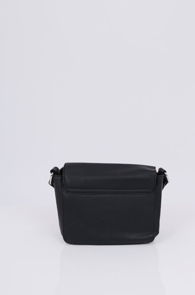 SMB1971-BLACK CROSSBODY SQUARE GOLD FLAP BAG view 4