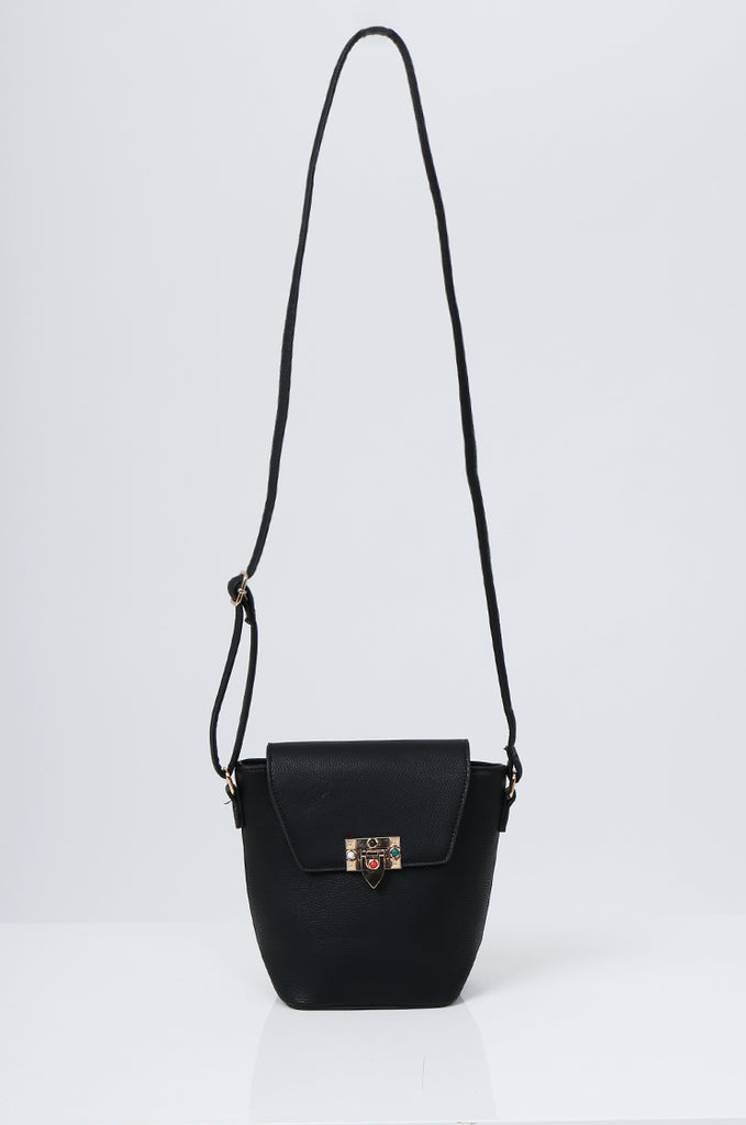 SMB2213-BLACK CROSS BODY EMBELLISHED BUCKET BAG