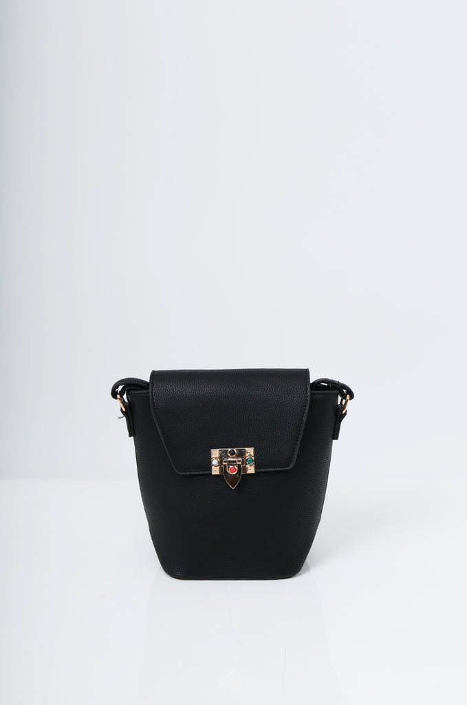 SMB2213-BLACK CROSS BODY EMBELLISHED BUCKET BAG view 2