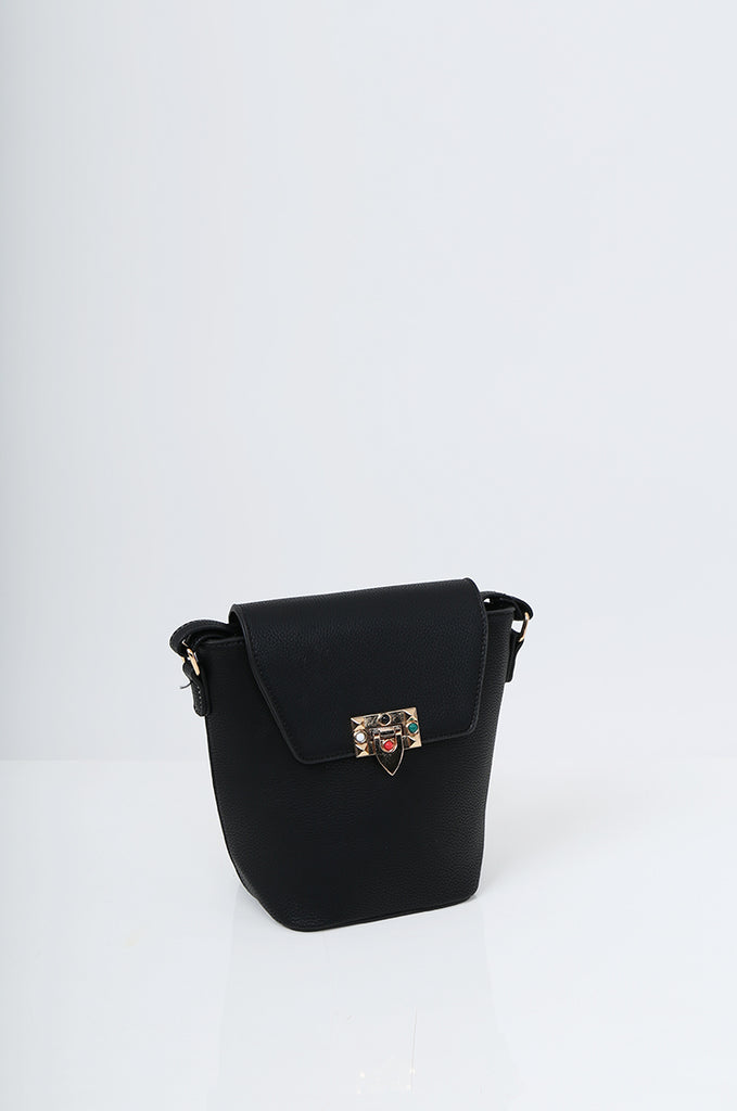 SMB2213-BLACK CROSS BODY EMBELLISHED BUCKET BAG view 3