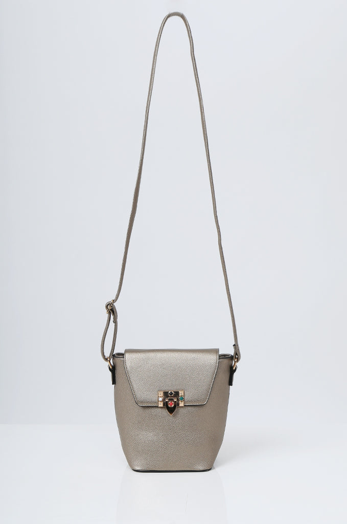 SMB2213-BRONZE CROSS BODY EMBELLISHED BUCKET BAG view main view