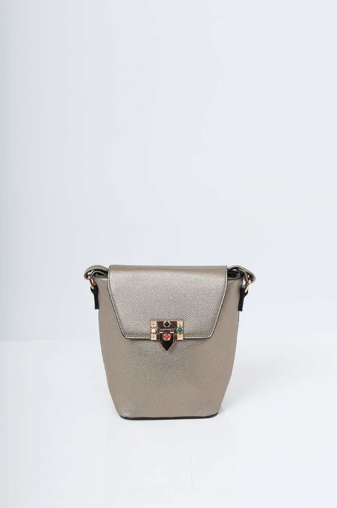 SMB2213-BRONZE CROSS BODY EMBELLISHED BUCKET BAG view 2