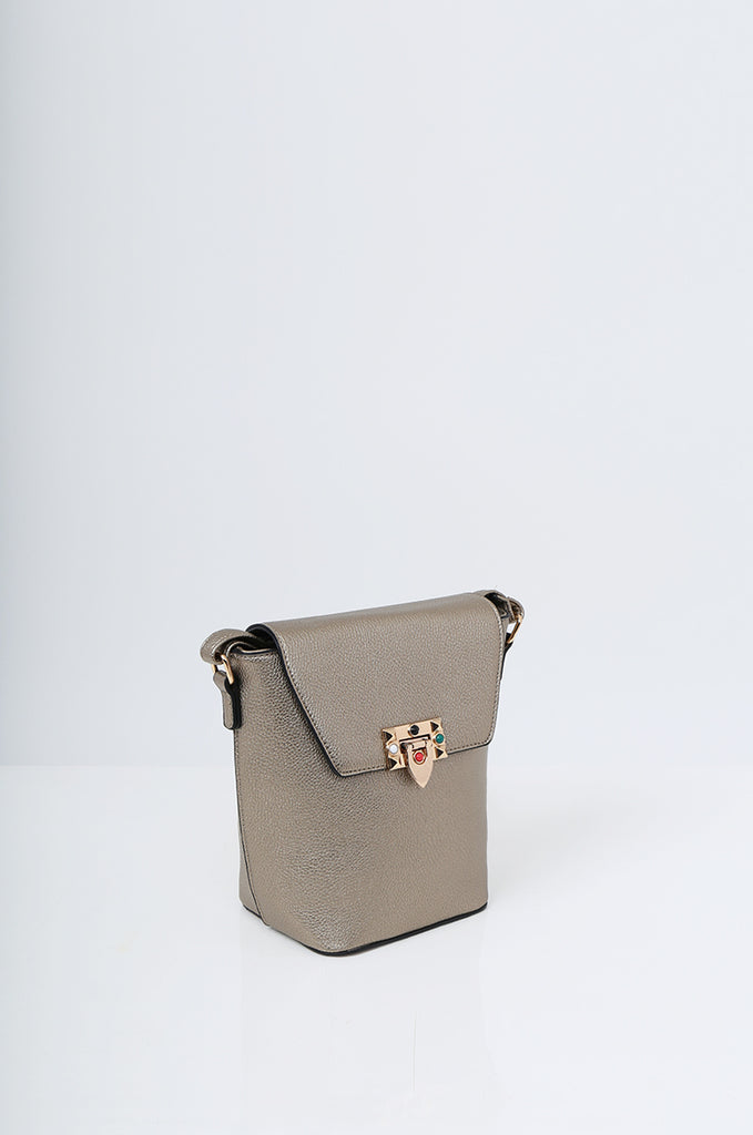 SMB2213-BRONZE CROSS BODY EMBELLISHED BUCKET BAG view 3