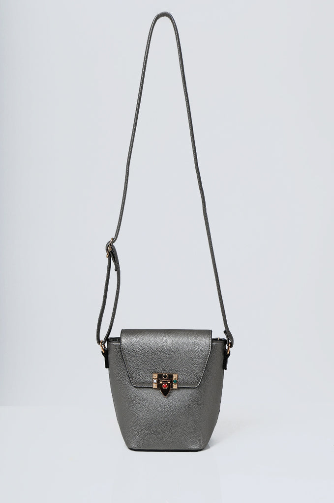 SMB2213-GUNMETAL CROSS BODY EMBELLISHED BUCKET BAG
