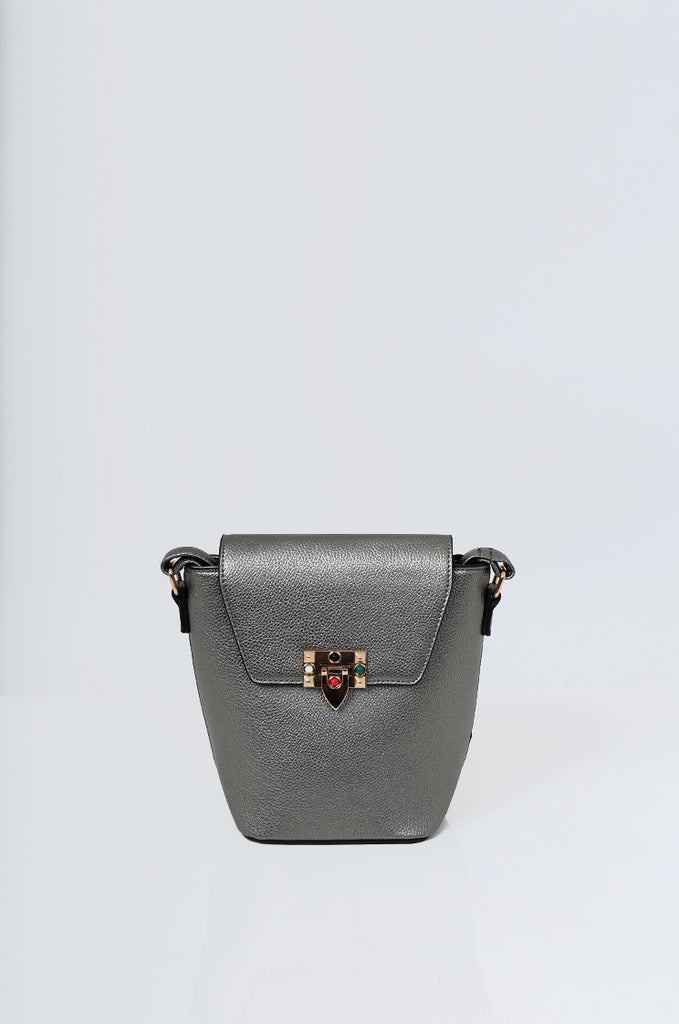 SMB2213-GUNMETAL CROSS BODY EMBELLISHED BUCKET BAG view 2