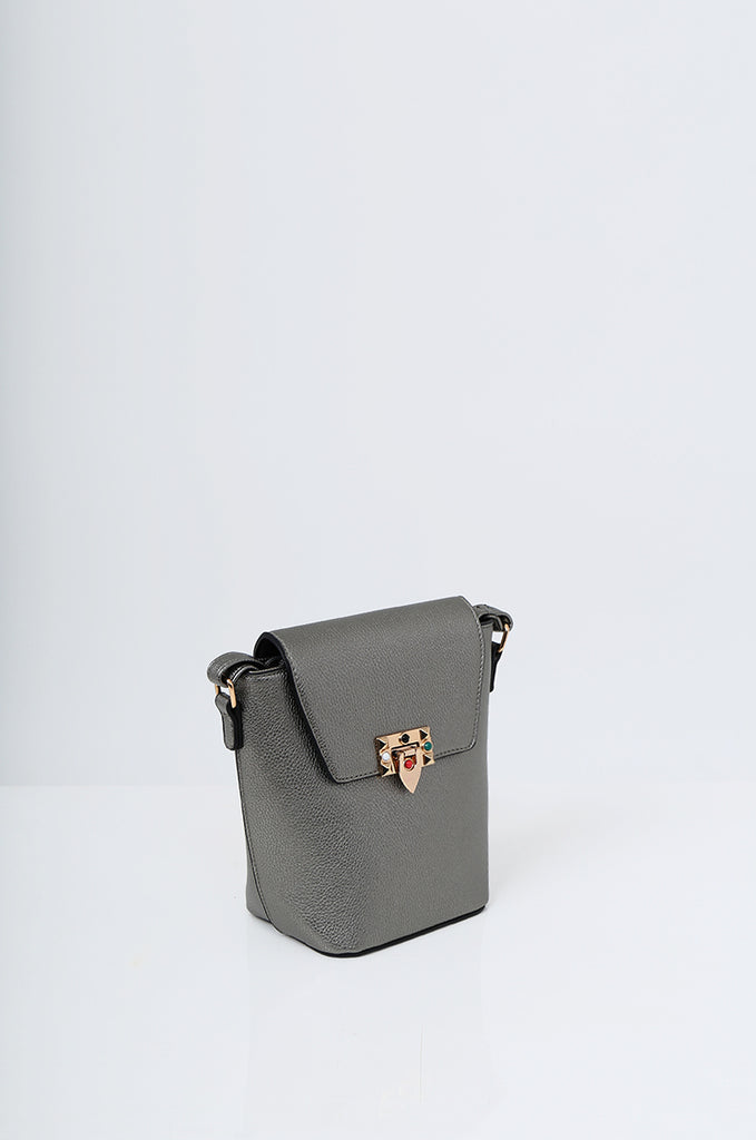 SMB2213-GUNMETAL CROSS BODY EMBELLISHED BUCKET BAG view 3