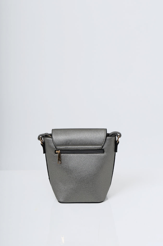 SMB2213-GUNMETAL CROSS BODY EMBELLISHED BUCKET BAG view 4
