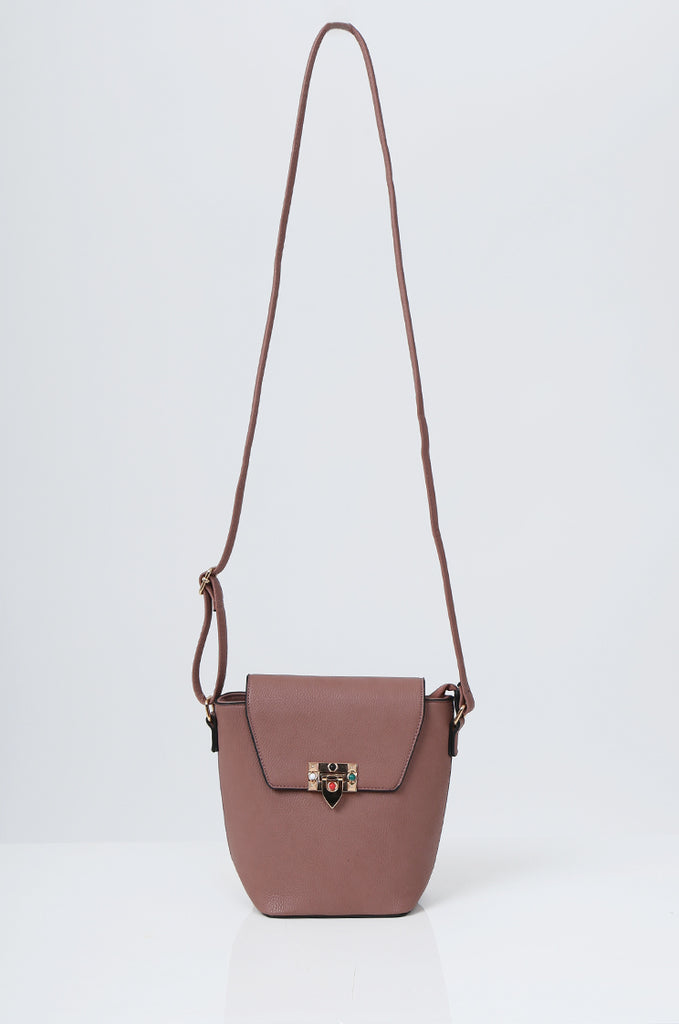 SMB2213-ROSE CROSS BODY EMBELLISHED BUCKET BAG