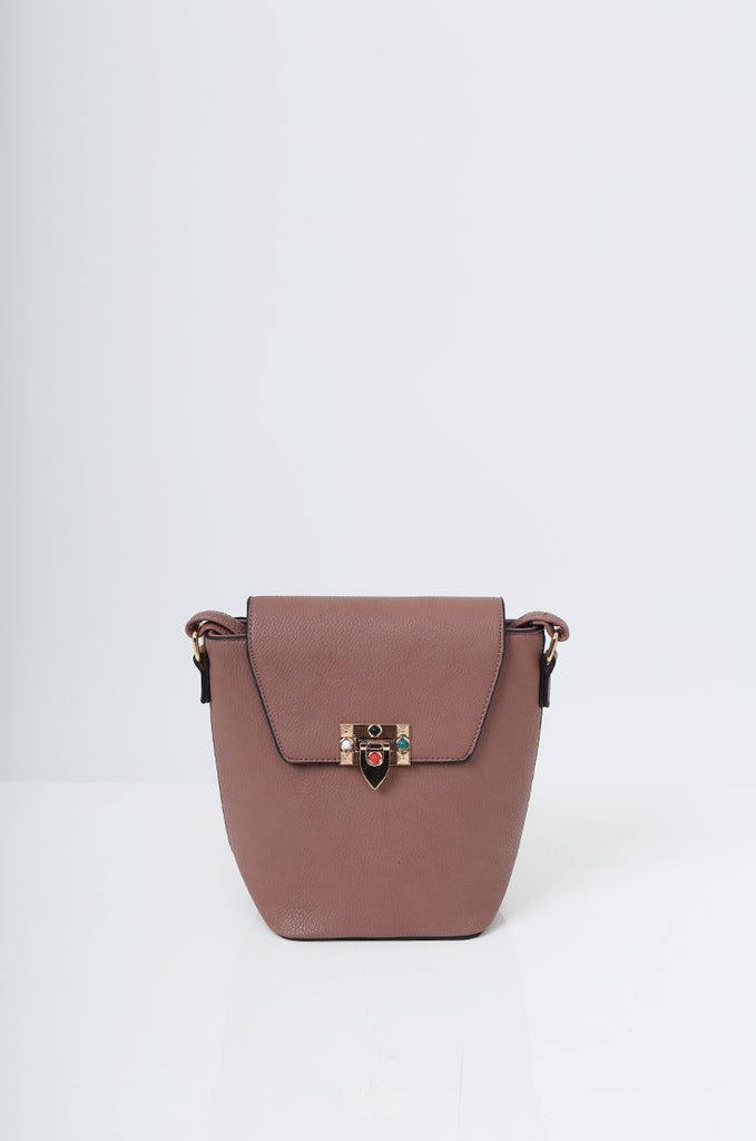 SMB2213-ROSE CROSS BODY EMBELLISHED BUCKET BAG view 2