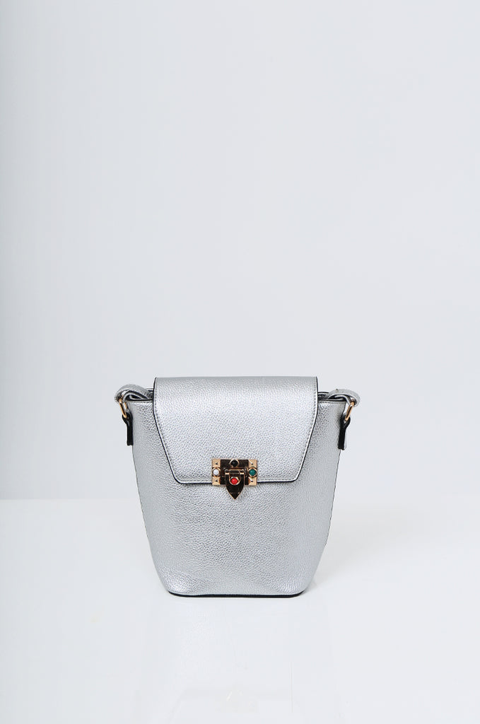 SMB2213-SILVER CROSS BODY EMBELLISHED BUCKET BAG view 2