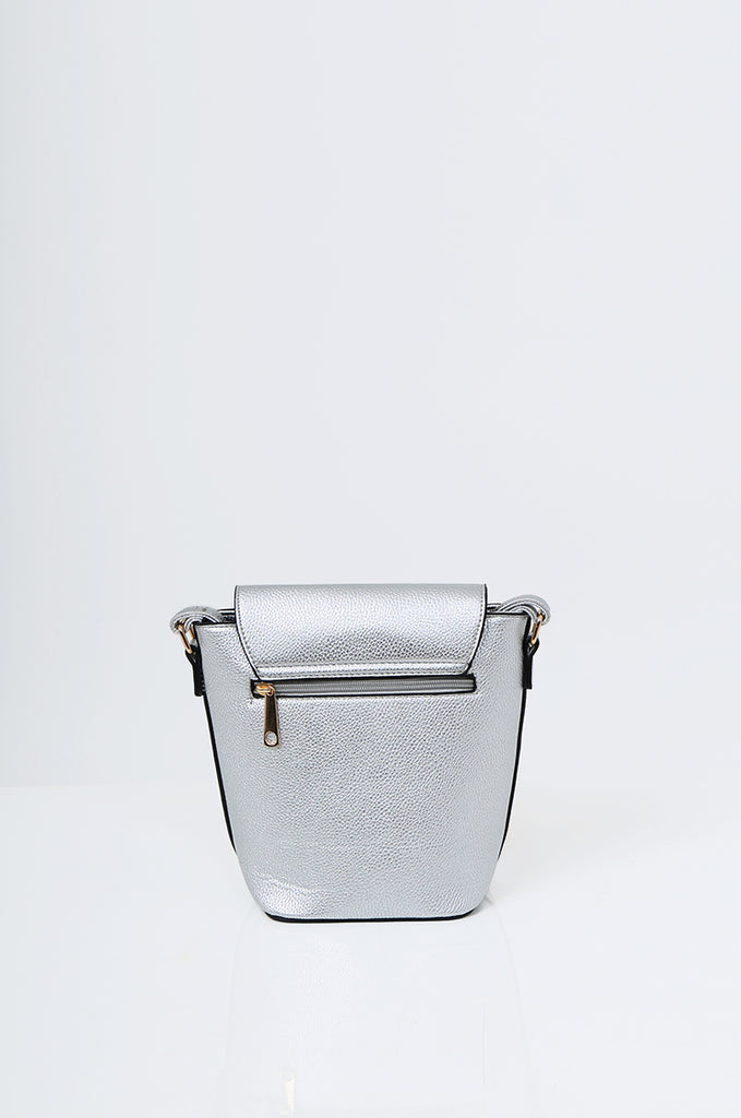 SMB2213-SILVER CROSS BODY EMBELLISHED BUCKET BAG view 4