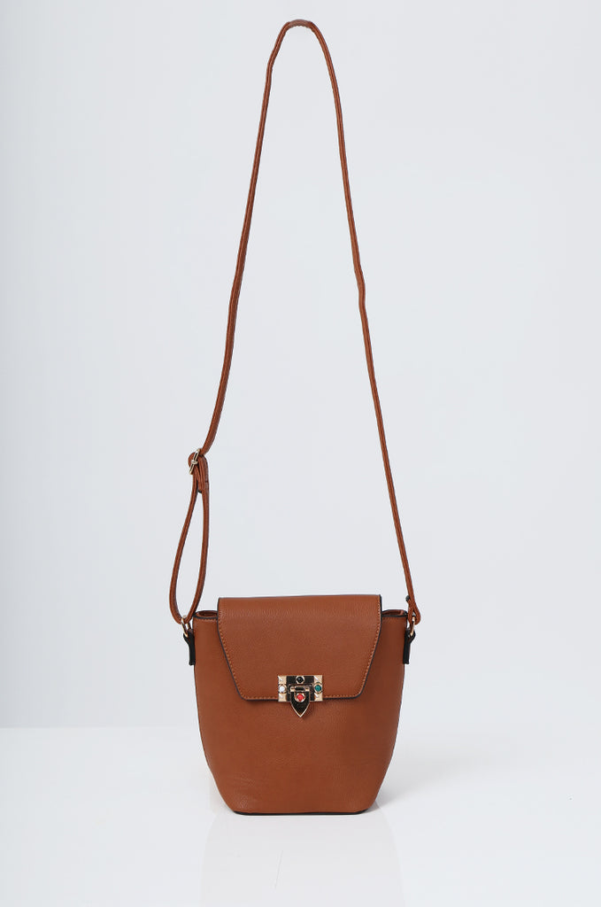 SMB2213-TAN CROSS BODY EMBELLISHED BUCKET BAG