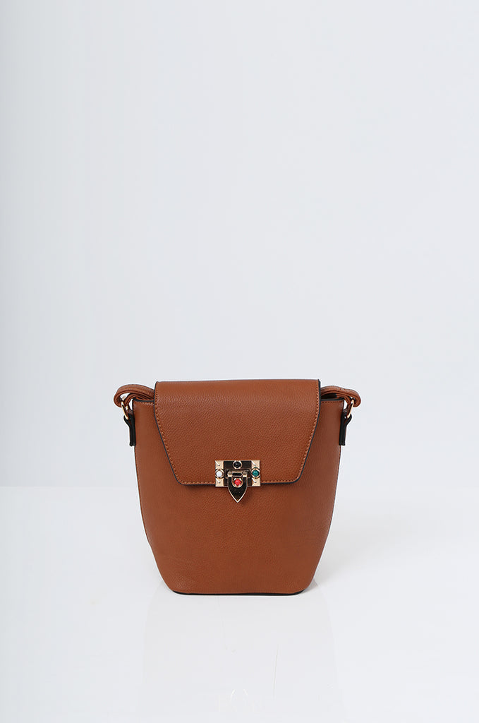 SMB2213-TAN CROSS BODY EMBELLISHED BUCKET BAG view 2
