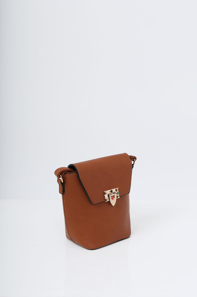 SMB2213-TAN CROSS BODY EMBELLISHED BUCKET BAG view 3