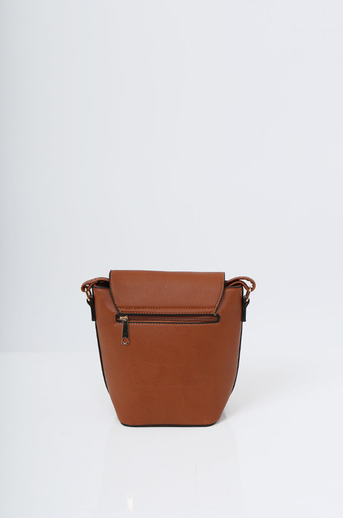 SMB2213-TAN CROSS BODY EMBELLISHED BUCKET BAG view 4