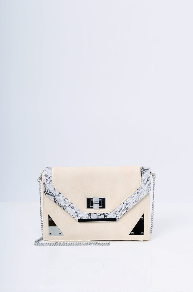 SMB2215-BEIGE SNAKE SKIN TRIM CLUTCH/SHOULDER BAG
