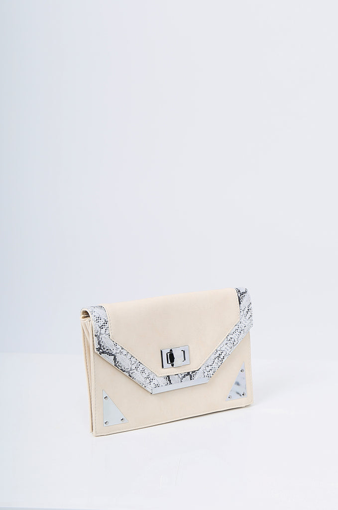 SMB2215-BEIGE SNAKE SKIN TRIM CLUTCH/SHOULDER BAG view 2