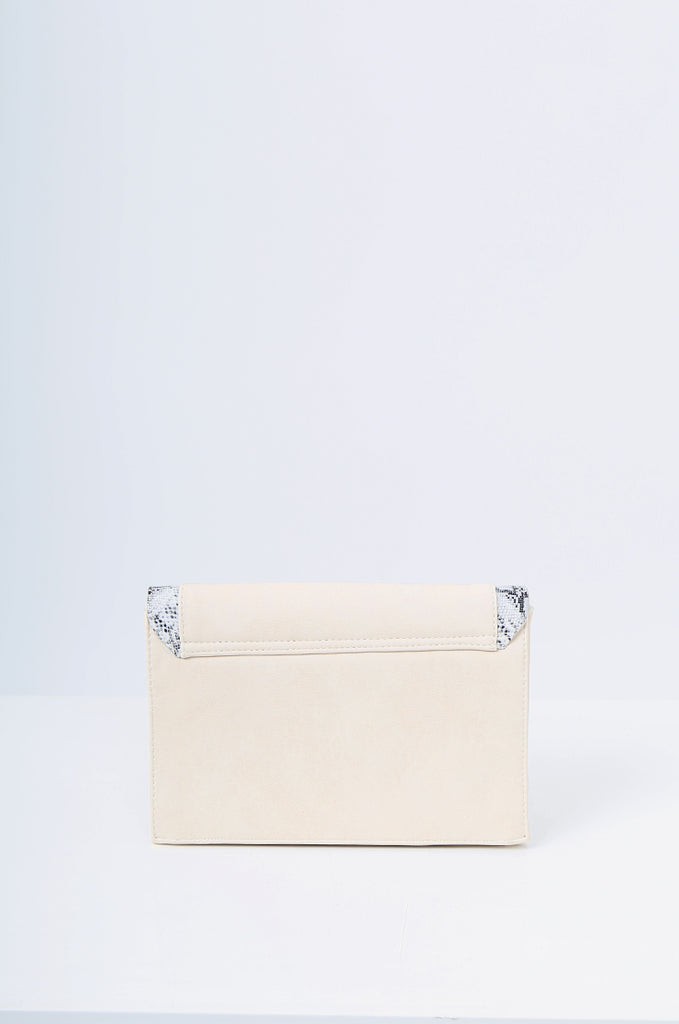 SMB2215-BEIGE SNAKE SKIN TRIM CLUTCH/SHOULDER BAG view 3