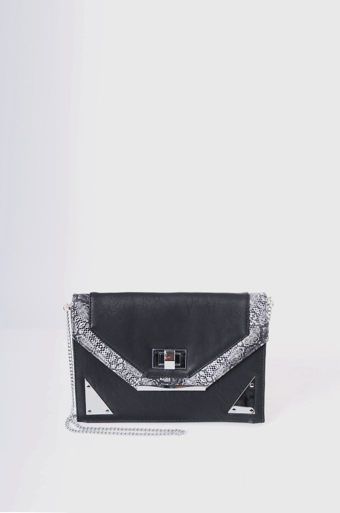 SMB2215-BLACK SNAKE SKIN TRIM CLUTCH/SHOULDER BAG