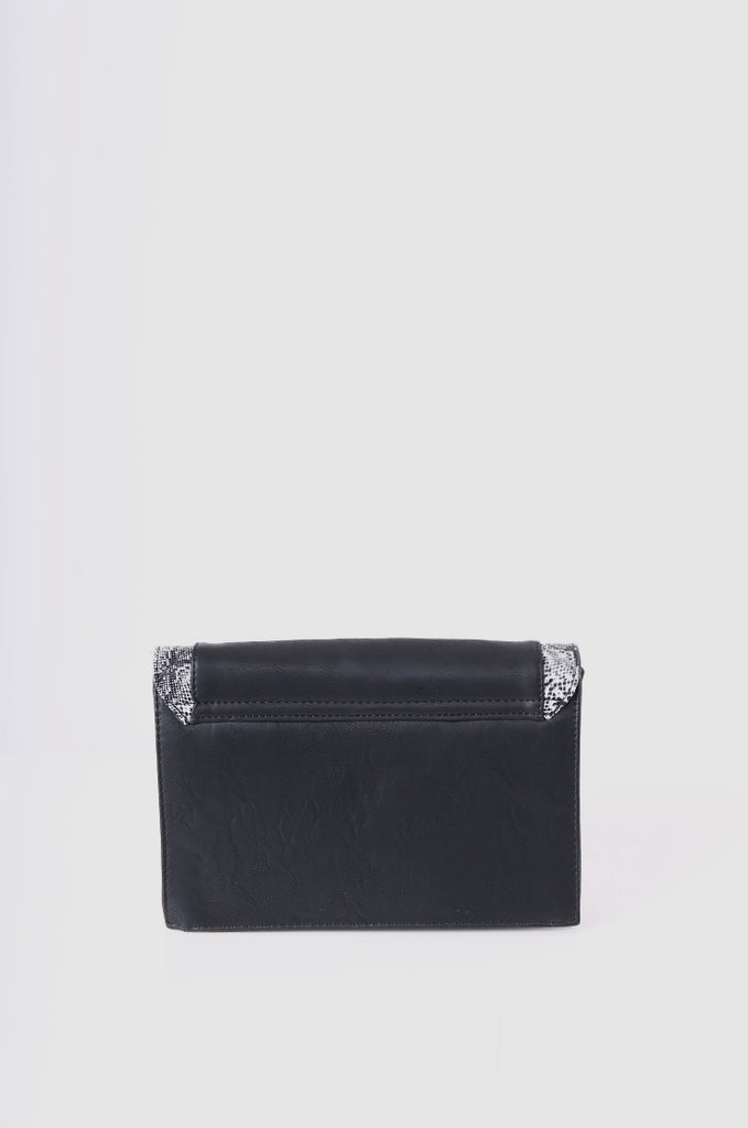 SMB2215-BLACK SNAKE SKIN TRIM CLUTCH/SHOULDER BAG view 3