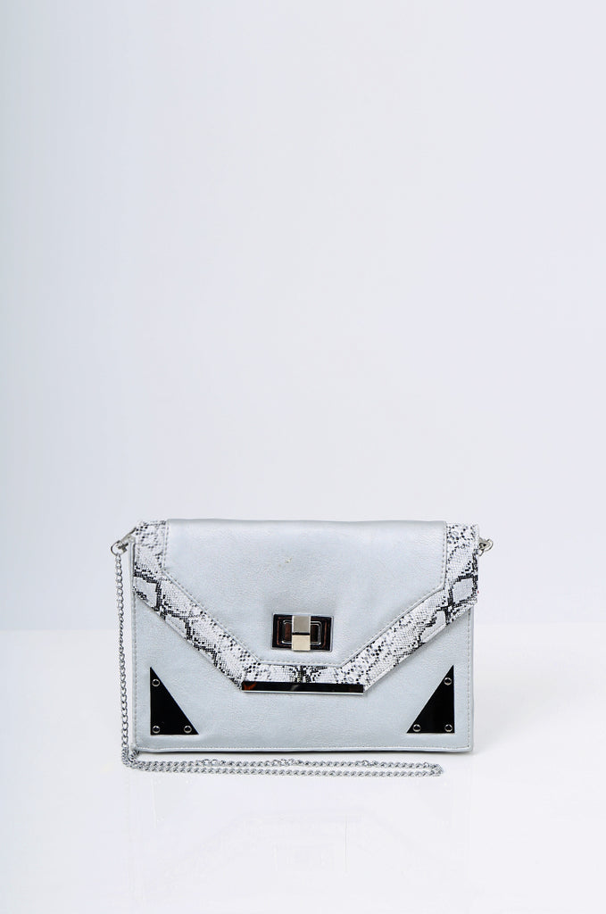 SMB2215- SILVER SNAKE SKIN TRIM CLUTCH/SHOULDER BAG view main view