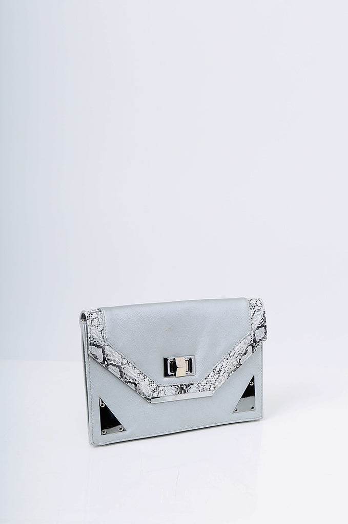 SMB2215- SILVER SNAKE SKIN TRIM CLUTCH/SHOULDER BAG view 2