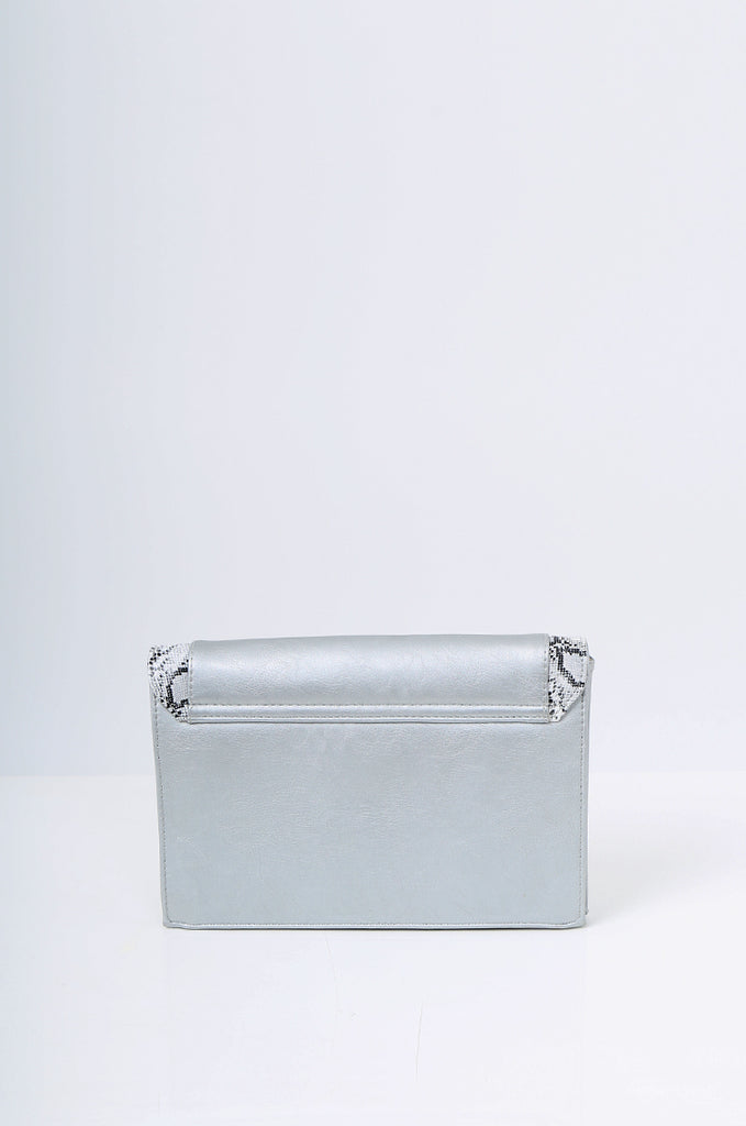 SMB2215- SILVER SNAKE SKIN TRIM CLUTCH/SHOULDER BAG view 3