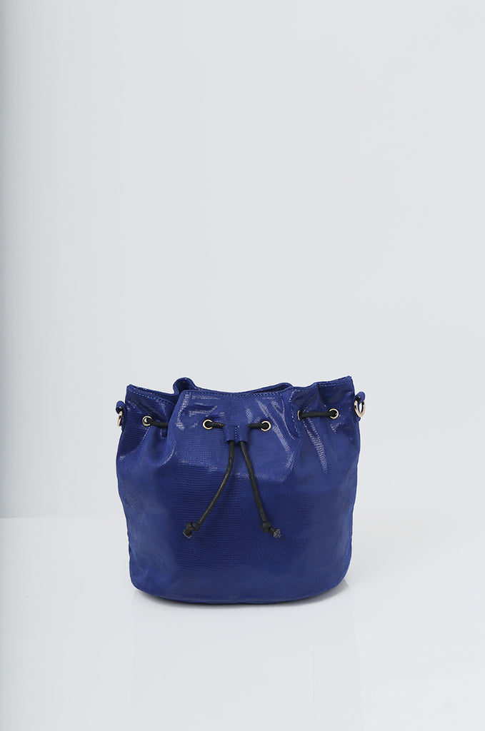 SMB2216-BLUE SNAKE PRINT SUEDETTE BUCKET BAG view 2