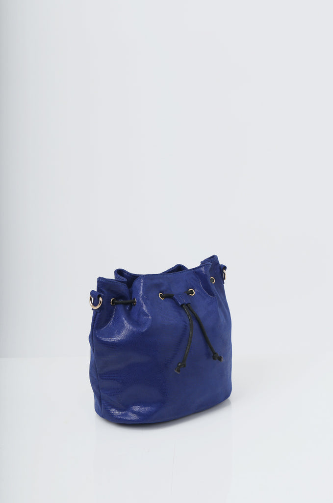 SMB2216-BLUE SNAKE PRINT SUEDETTE BUCKET BAG view 3