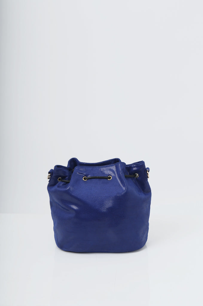 SMB2216-BLUE SNAKE PRINT SUEDETTE BUCKET BAG view 4