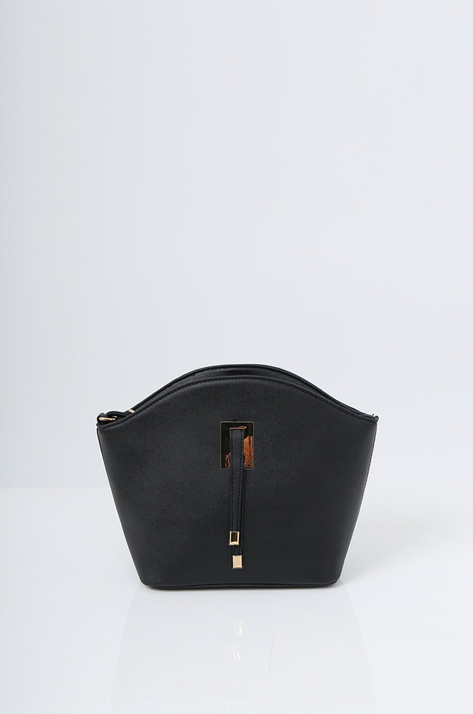 SMB2219-BLACK BUCKLE DETAIL CURVE TOP SHOULDER BAG view 2