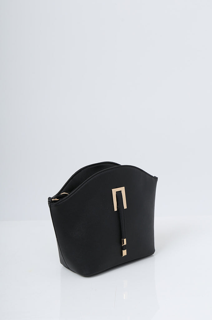 SMB2219-BLACK BUCKLE DETAIL CURVE TOP SHOULDER BAG view 3
