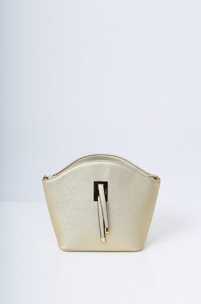 SMB2219-GOLD BUCKLE DETAIL CURVE TOP SHOULDER BAG view 2
