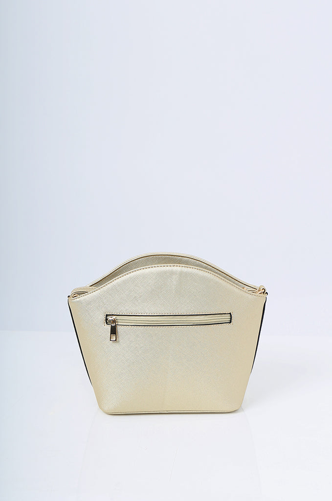 SMB2219-GOLD BUCKLE DETAIL CURVE TOP SHOULDER BAG view 4