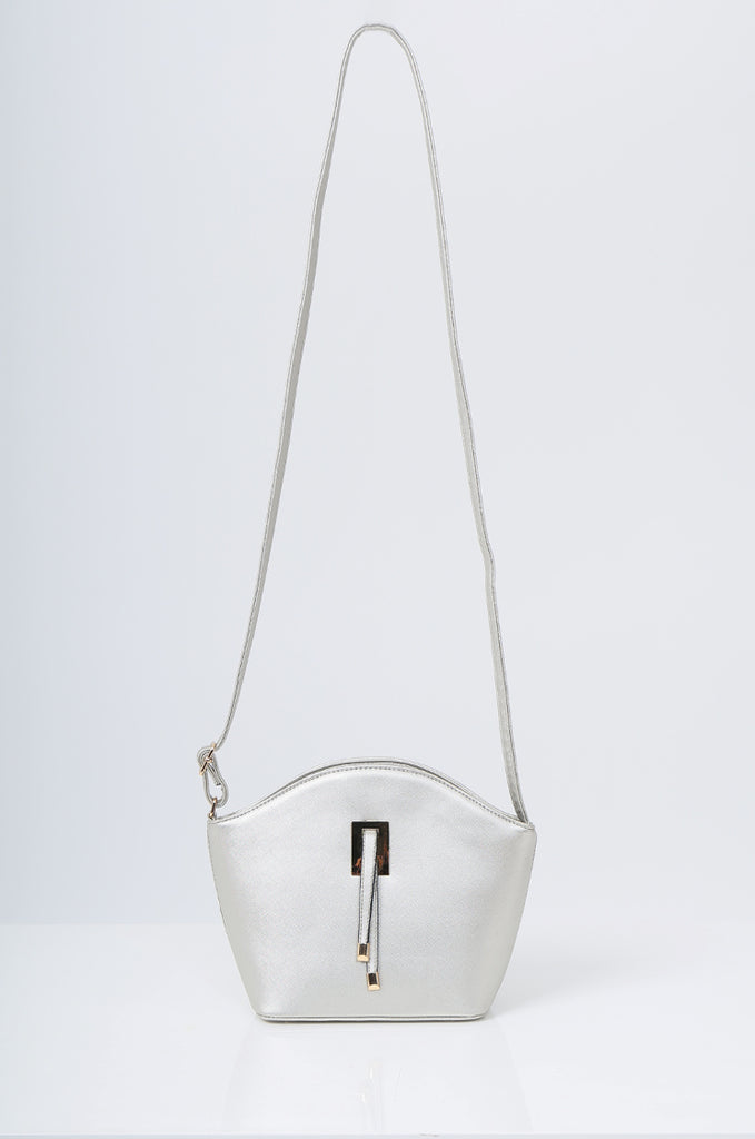 SMB2219-SILVER BUCKLE DETAIL CURVE TOP SHOULDER BAG