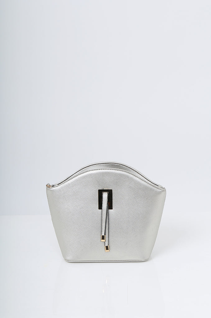 SMB2219-SILVER BUCKLE DETAIL CURVE TOP SHOULDER BAG view 2