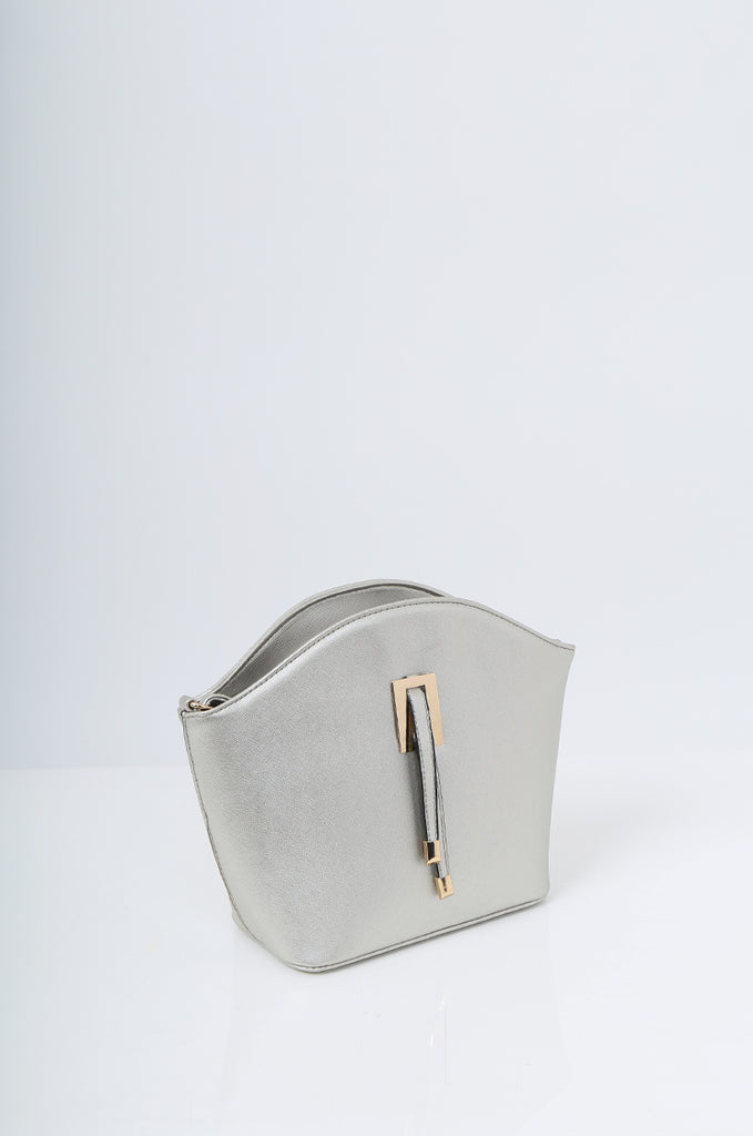 SMB2219-SILVER BUCKLE DETAIL CURVE TOP SHOULDER BAG view 3