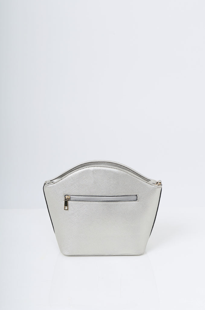 SMB2219-SILVER BUCKLE DETAIL CURVE TOP SHOULDER BAG view 4