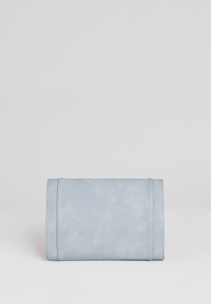 SMB2688-BLUE PANELLED SILVER TWIST BUCKLE CLUTCH BAG view 3