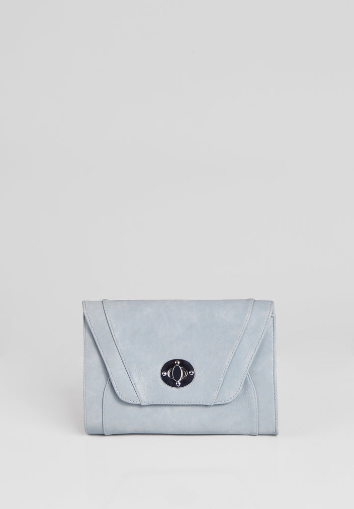 SMB2688-BLUE PANELLED SILVER TWIST BUCKLE CLUTCH BAG