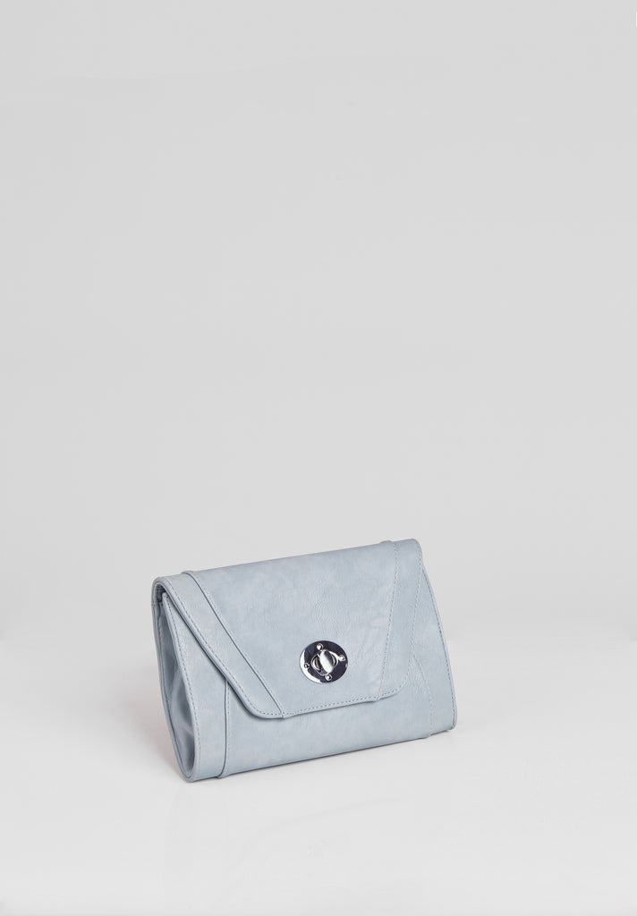 SMB2688-BLUE PANELLED SILVER TWIST BUCKLE CLUTCH BAG view 2