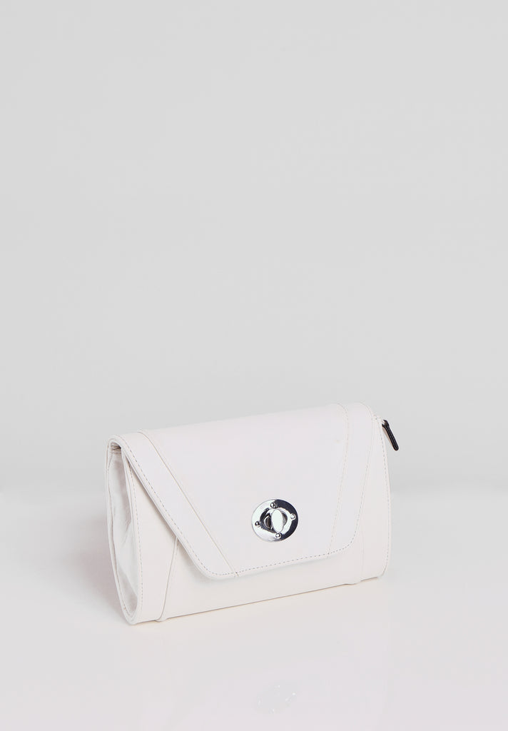 SMB2688-WHITE PANELLED SILVER TWIST BUCKLE CLUTCH BAG view 2